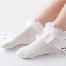 Baby Einfarbige Socken mit Schleife Dekor