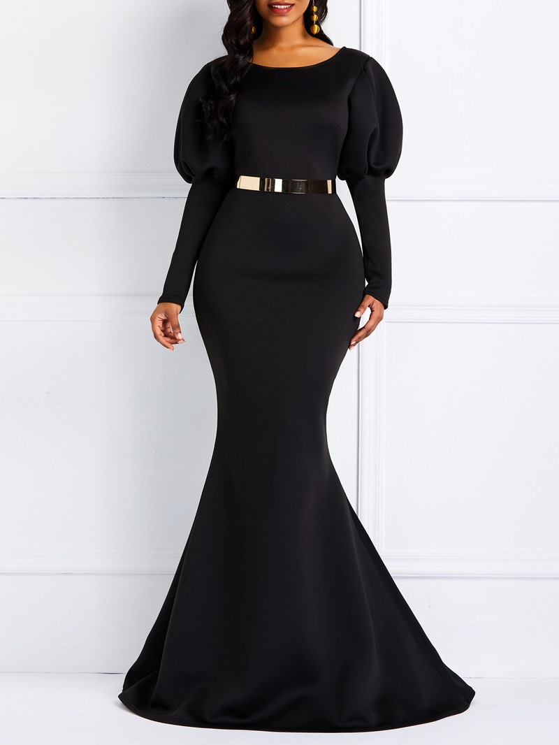Ericdress Long Gigot Sleeves Mermaid Black Maxi Dress(Without Waistband)