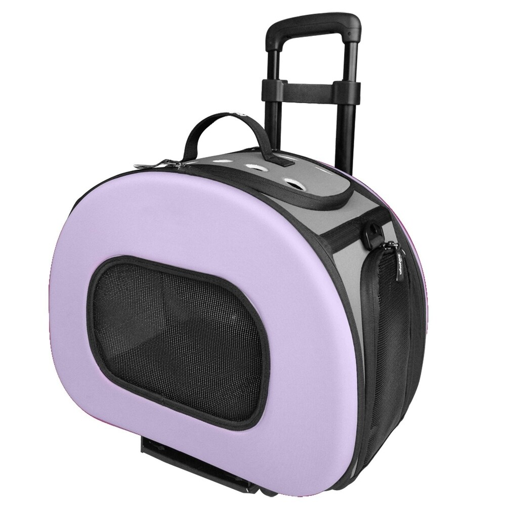 Tough-shell Collapsible Wheeled Final Destination Pet Carrier - One size (Purple)