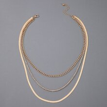 1pc Rhinestone Chain Layered Necklace