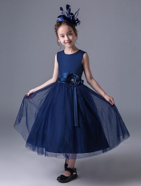 Milanoo Vestidos De Niña De Flores Marina Oscura Vestido De Princesa Del Desfilees Para Niñas Pequeñas Con Faja Longitud Del Te Vestido Formal De Fies