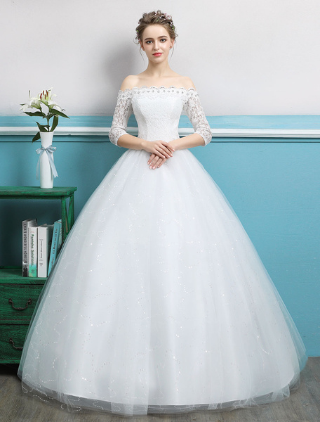 Milanoo Princess Ball Gown Wedding Dresses Off Shoulder Lace Rhinestones Tulle Ivory Floor Length Bridal Dress
