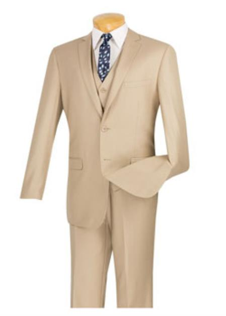Mens Beige 3 Piece 1 Wool Executive Suit - Narrow Leg Pants