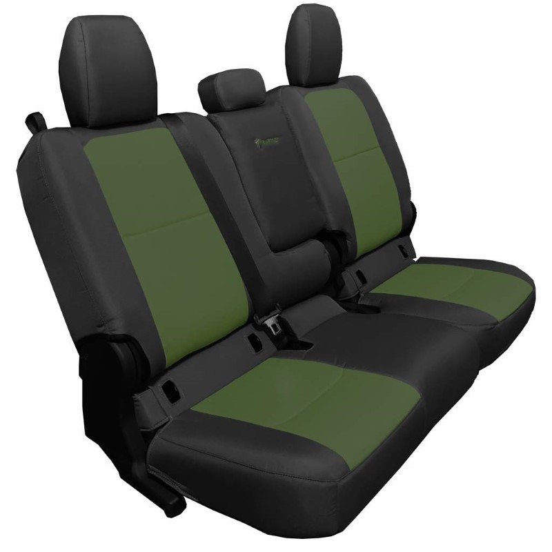 Bartact JTSC2019RFBO Rear 4 Door Seat Covers 2019 and Up Jeep Gladiator Black/Olive With Fold Arm Rest
