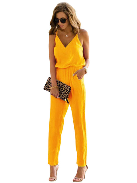Milanoo One Piece Jumpsuit With Pockets Cami Neck Sleeveless Straight Leg Jumpsuit