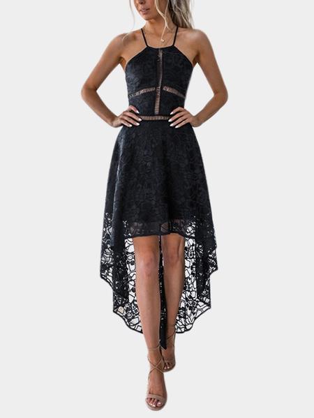 Yoins Black Hollow Design Halter Irregular Hem Dress