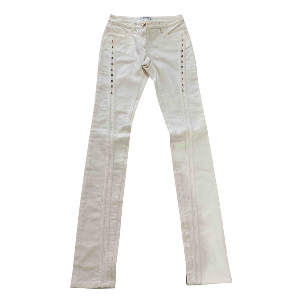 Versace \N White Denim - Jeans Trousers for Women 36 IT