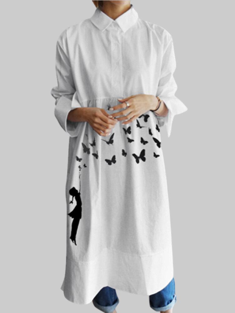 Butterflies Print Lapel Long Sleeve Plus Size Dress