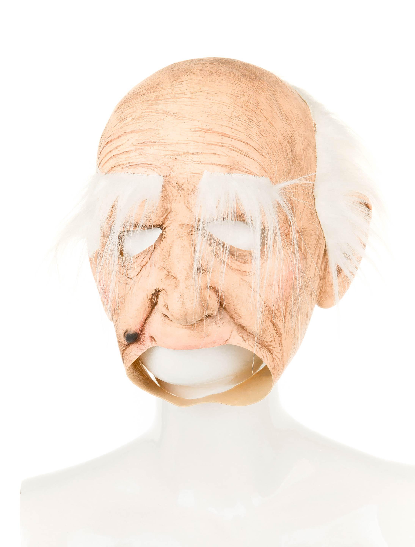 Kostuemzubehor Latexmaske alter Mann mit offenem Mund Farbe: beige