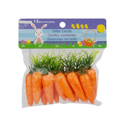 Easter Glitter Carrots Decor 15Pcs/Pack