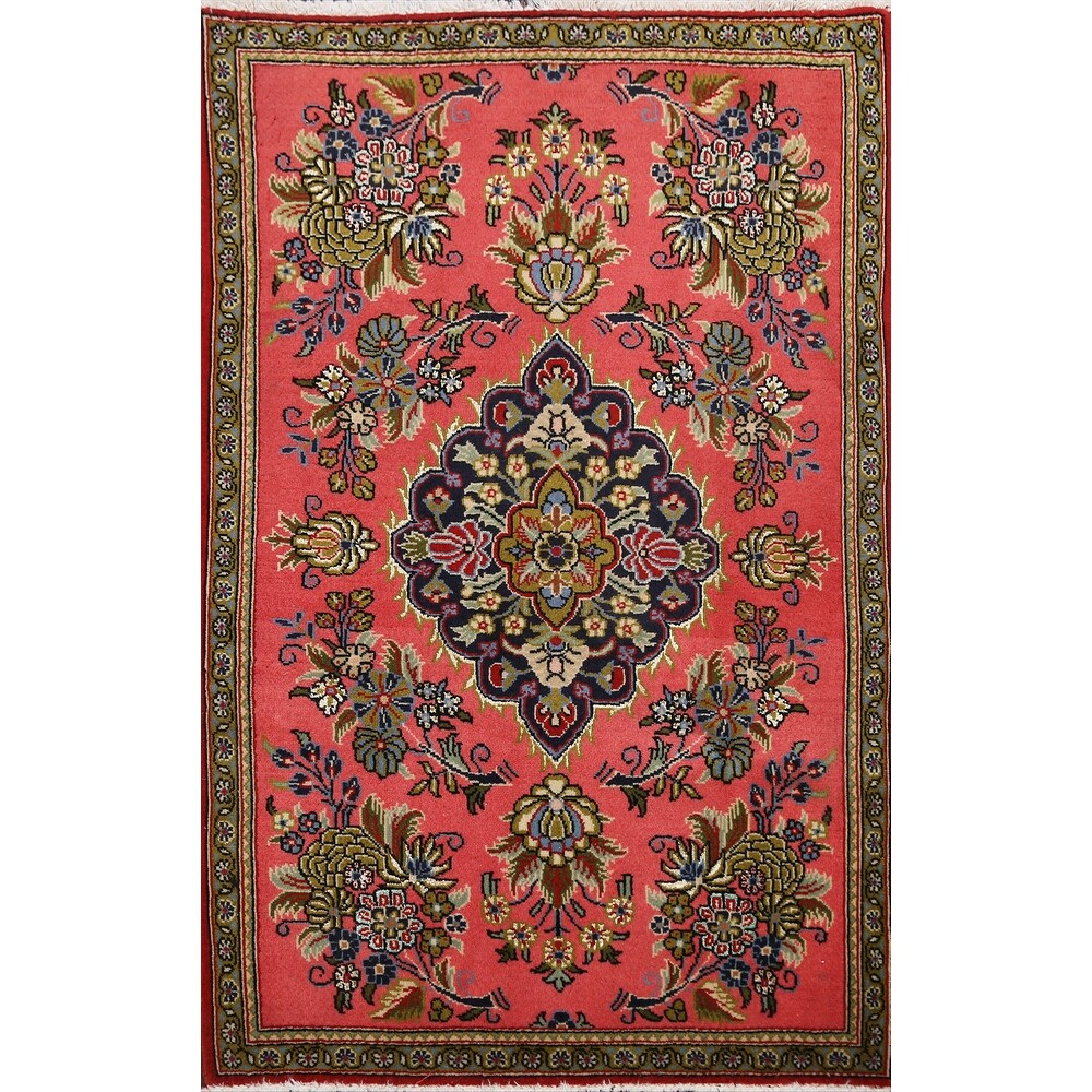 Floral Traditional Kashan Persian Area Rug Wool Hand-knotted - 2'1