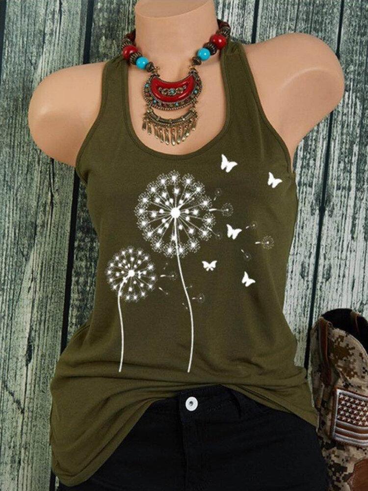 Flower Butterflies Print Sleeveless Tank Tops For Women