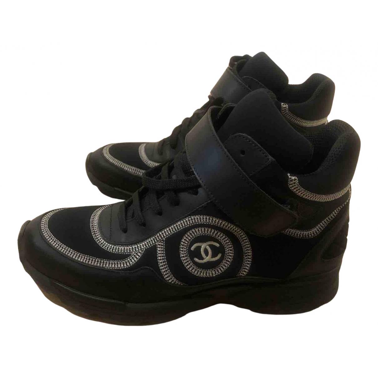 Chanel - Baskets Ankle Strap pour femme en cuir - noir