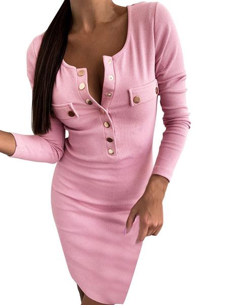 Milanoo Bodycon Dresses Khaki Long Sleeves Buttons Casual Jewel Neck Sheath Dress Sheath Dress