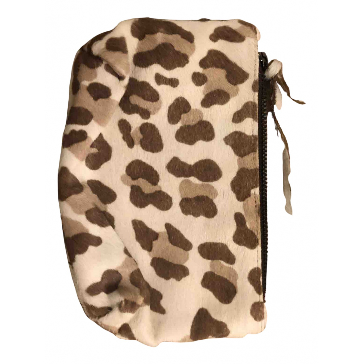 Non Signé / Unsigned N Beige Pony-style calfskin Clutch bag for Women N