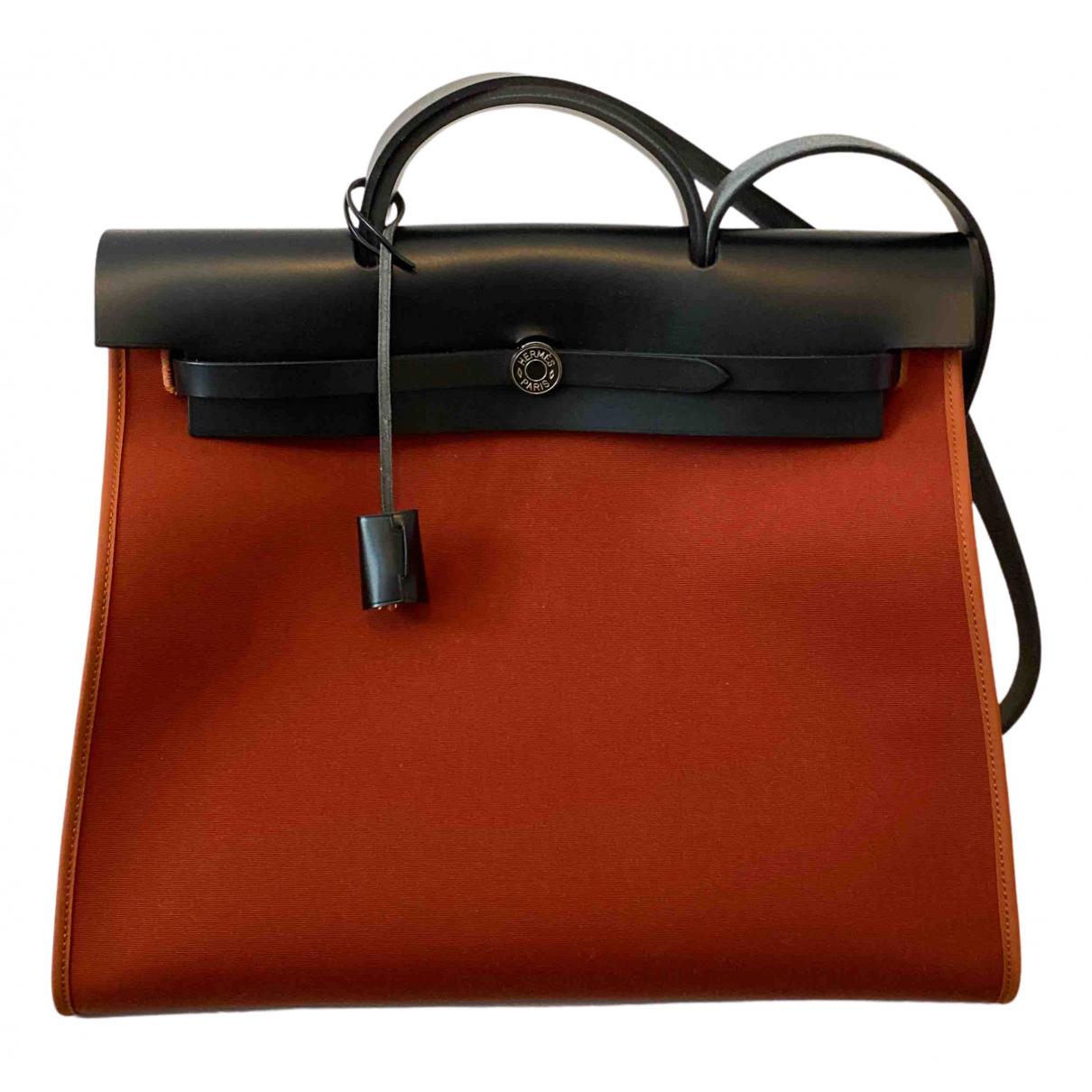 Hermes Herbag Handtasche in  Rot Baumwolle