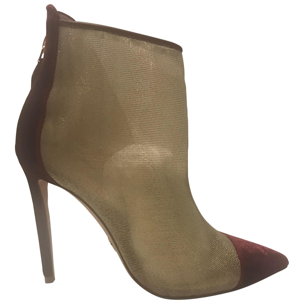 Oscar Tiye \N Burgundy Velvet Ankle boots for Women 37 EU
