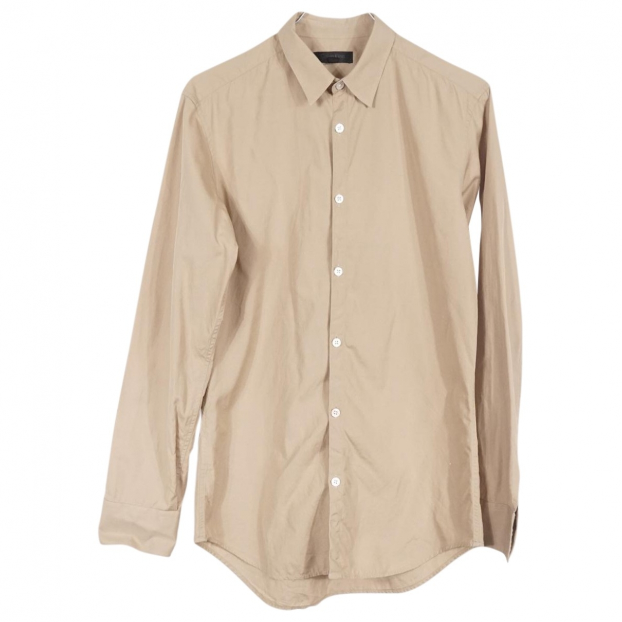 Calvin Klein Collection \N Beige Cotton Shirts for Men 39 EU (tour de cou / collar)