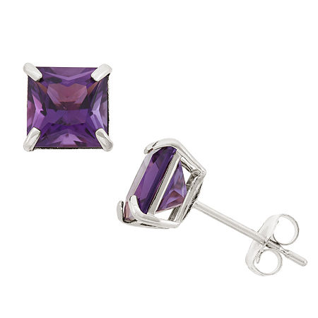 Genuine Purple Amethyst 10K Gold 6mm Stud Earrings, One Size , No Color Family