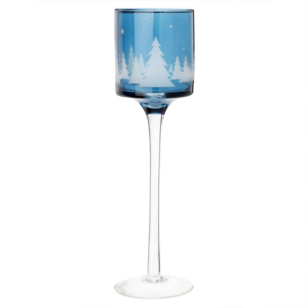 Windlicht mit Fuss aus Glas, blau mit Farbabstufungen und weiss, bedruckt