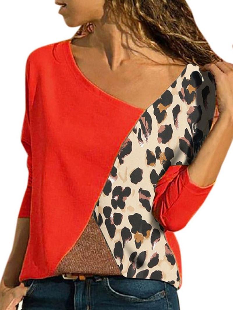 Ericdress Color Block Standard Long Sleeve Fall Loose T-Shirt