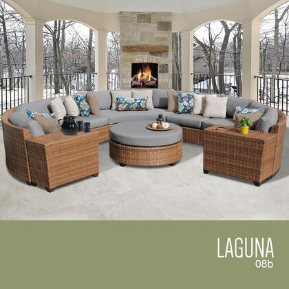 LAGUNA-08b-GREY Laguna 8 Piece Outdoor Wicker Patio Furniture Set 08b with 2 Covers: Wheat and