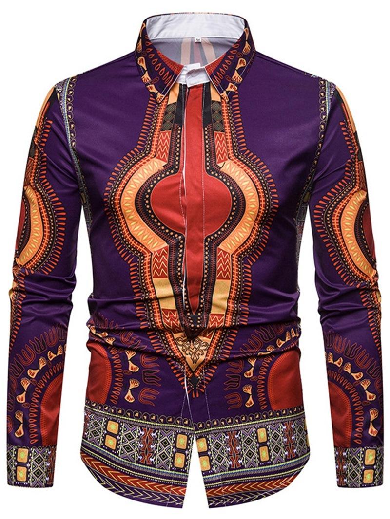 Ericdress African Fashion Dashiki Print Mens Casual Slim Shirts