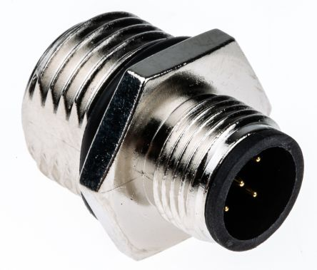 TE Connectivity Connector, 5 contacts Panel Mount M12 Plug, Solder IP67