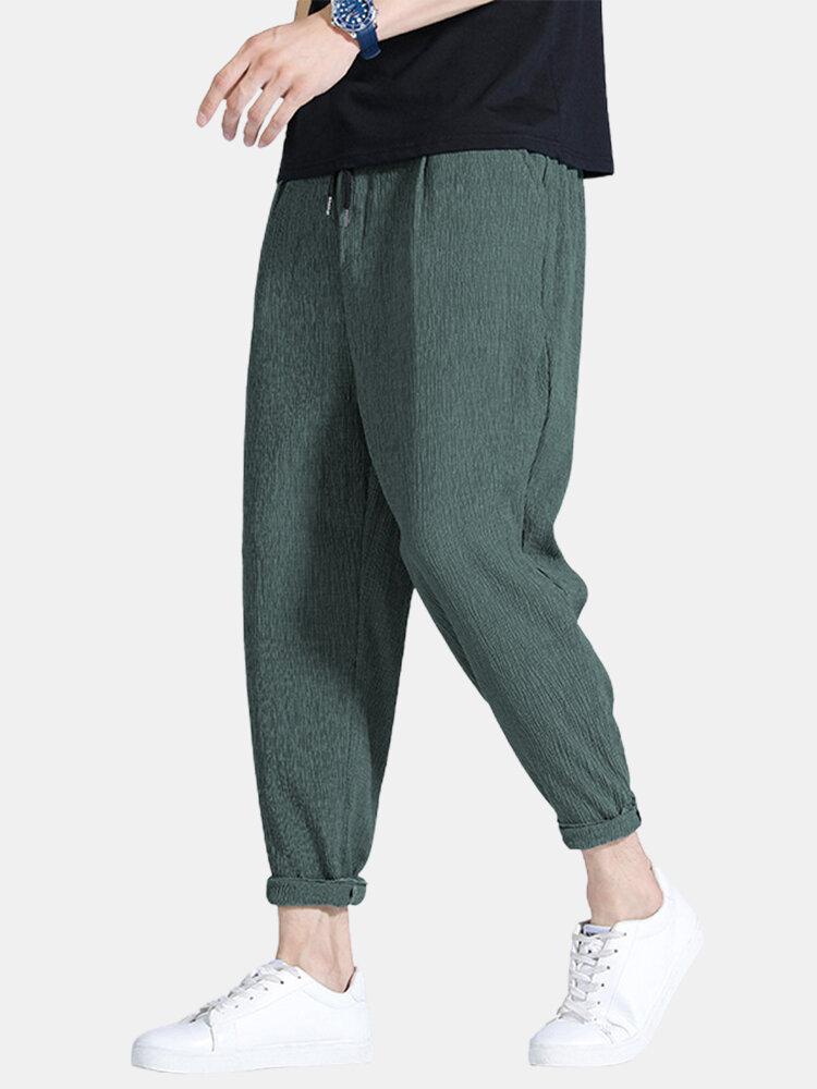 Mens Basic Plain Loose Daily Thin Drawing Mid Waist Harem Pants With Pocket