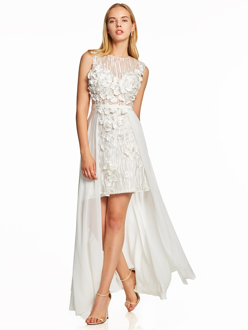 Ericdress Scoop Neck Flowers Knee-Length Prom Dress