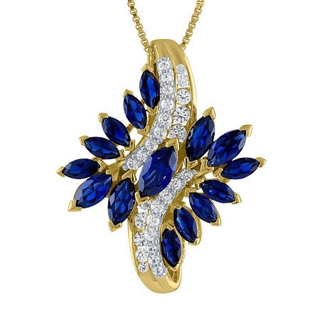 Womens Lab Created Blue Sapphire 14K Gold Over Silver Pendant Necklace, One Size , No Color Family
