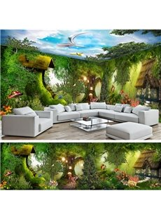 Blue Sky and Forests with Small Animals Pattern 3D Waterproof Ceiling and Wall Murals