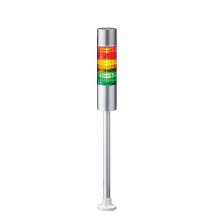 Patlite LED Pre-Configured Beacon Tower With Buzzer, 3 Light Elements, Red/Yellow/Green, 24 V dc