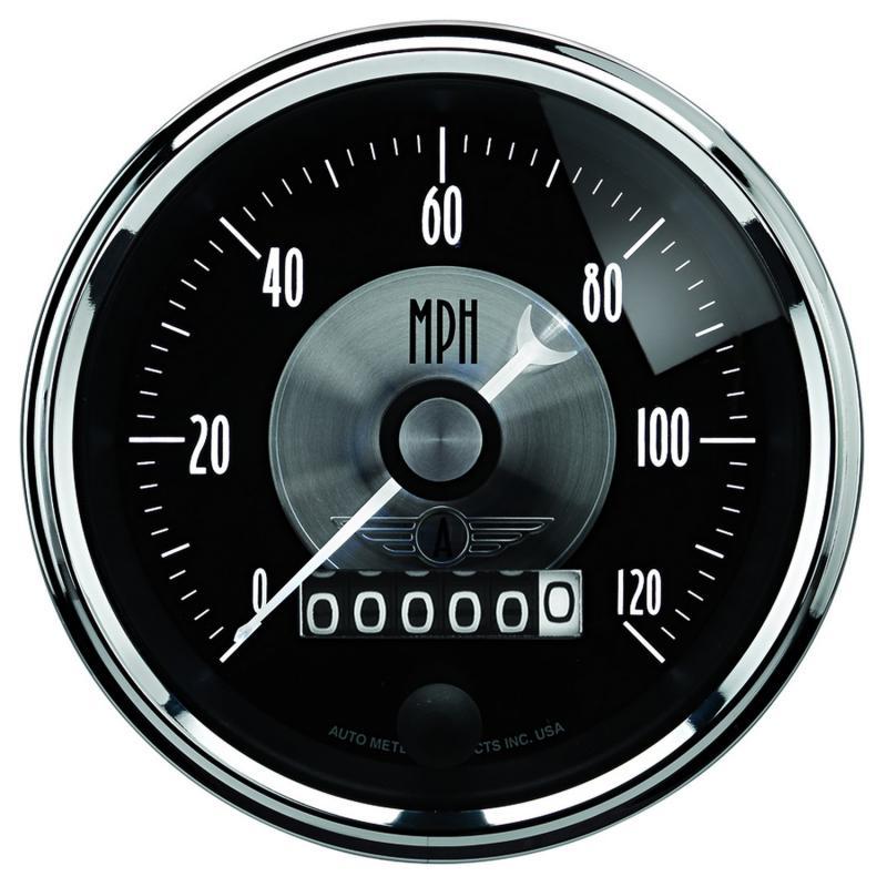 AutoMeter GAUGE; SPEEDO; 3 3/8in.; 120MPH; ELEC. PROGRAM W/WHEEL ODO; PRESTIGE BLK. DIAMON