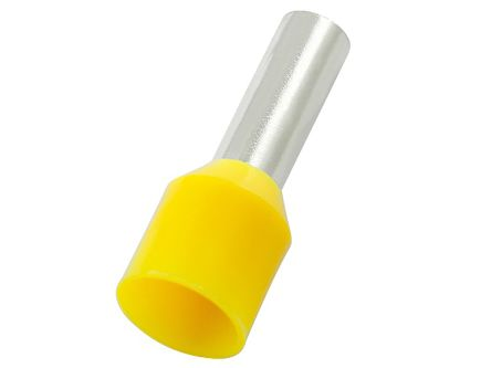 RS PRO Insulated Crimp Bootlace Ferrule, 10mm Pin Length, 1.7mm Pin Diameter, 1mm² Wire Size, Yellow (100)