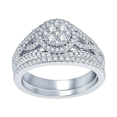 1 CT. T.W. Diamond 14K White Gold Bridal Set, 5 , No Color Family