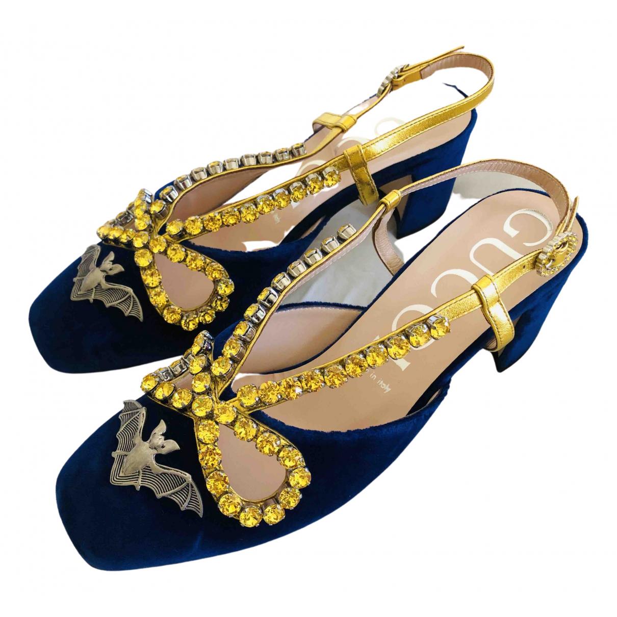Gucci N Navy Velvet Heels for Women 39 EU