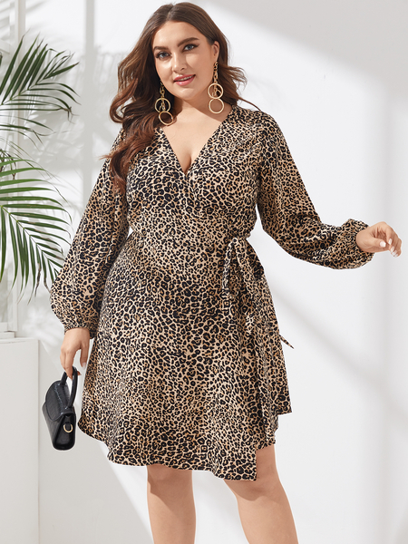 YOINS Plus Size V-neck Leopard Tie-up Design Wrap Design Long Sleeves Dress