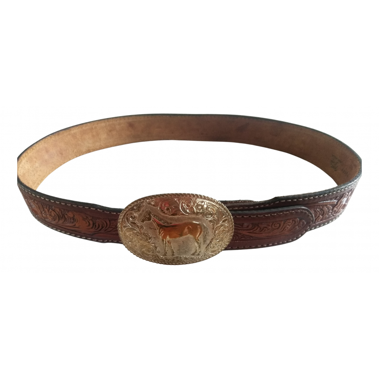 Tony Lama \N Brown Leather belt for Men 39 Inches