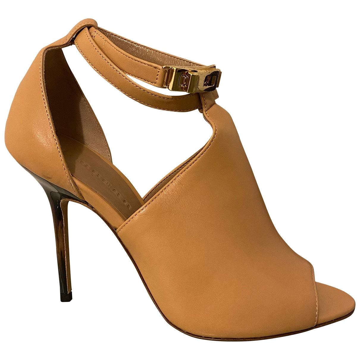 Burberry - Sandales   pour femme en cuir - camel