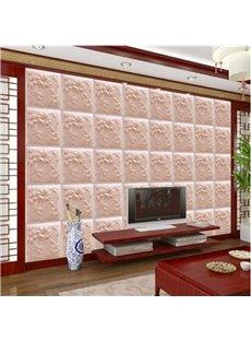 Pink Warm Three-dimensional Flower Plaid Pattern Home Decorative Wall Murals