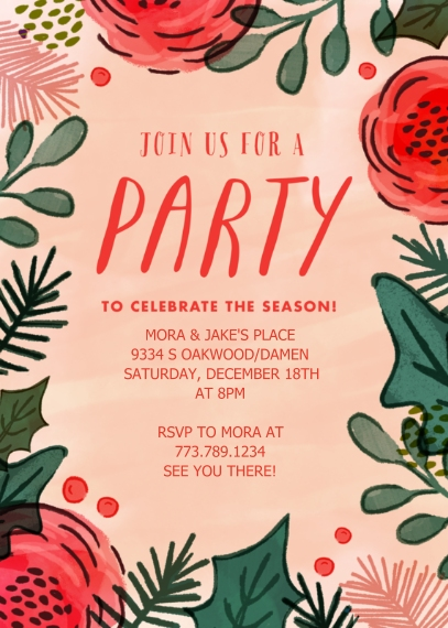 Christmas & Holiday Party Invitations 5x7 Cards, Premium Cardstock 120lb with Scalloped Corners, Card & Stationery -Holiday Flowers & Foliage