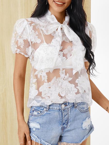 YOINS White See Through Design Classic Collar Short Sleeves Blouse