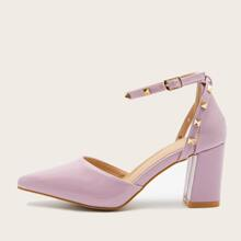 Rivet Decor High Heeled Ankle Strap Pumps