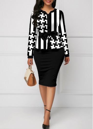 Black Dresses Bowknot Striped Houndstooth Print Bodycon Dress - L