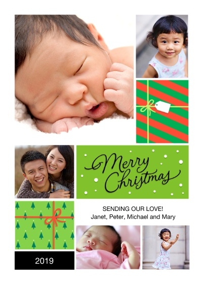 Christmas Photo Cards Flat Glossy Photo Paper Cards with Envelopes, 5x7, Card & Stationery -Merry Gifts