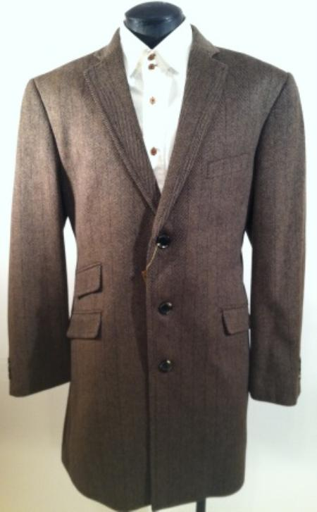 Mens Luxurious Wool and Cashmere Car Coat Taupe Herringbone$199
