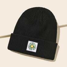 Flower Patched Knit Beanie