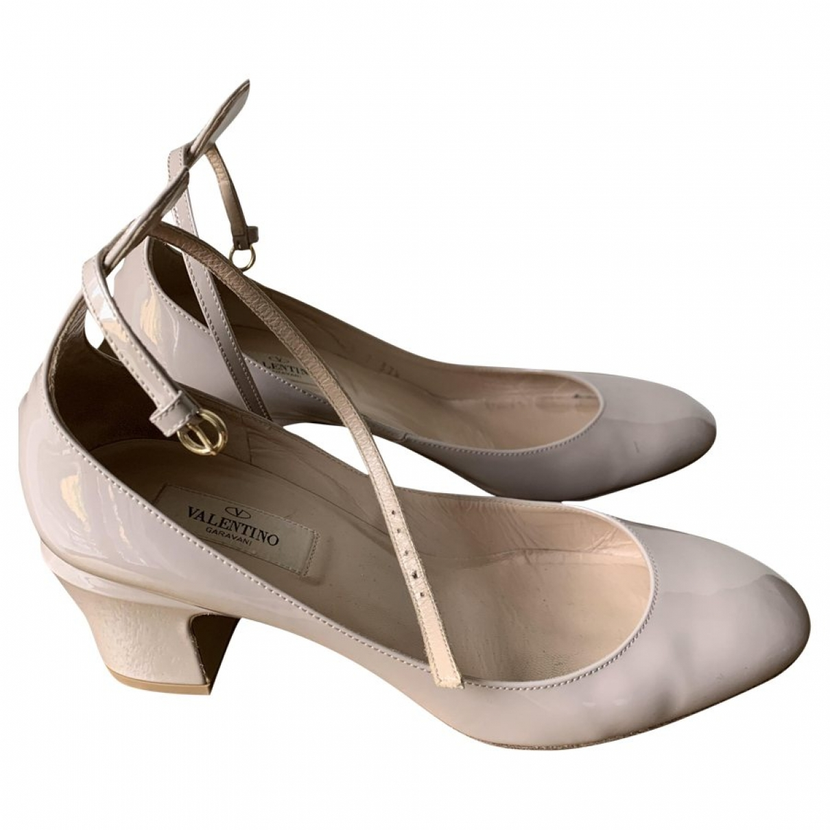 Valentino Garavani Tango Beige Patent leather Heels for Women 37.5 EU