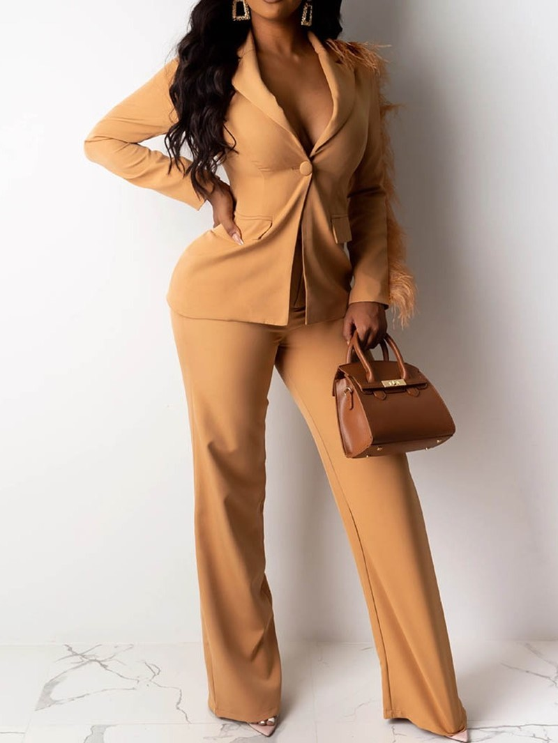 Ericdress Plain Tassel Straight Notched Lapel Two Piece Sets